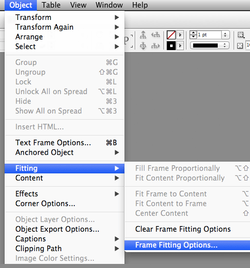 InDesign Frame Fitting Options