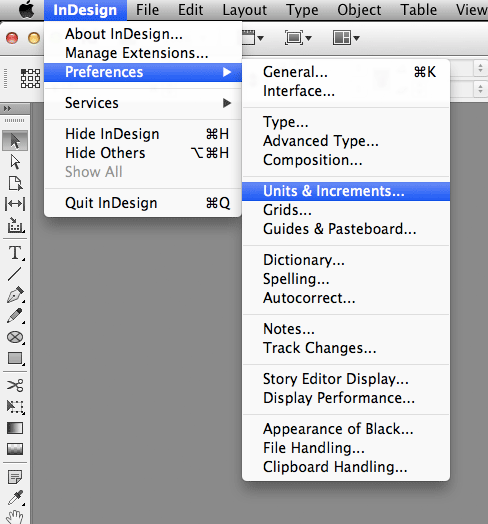 InDesign Units and Increments