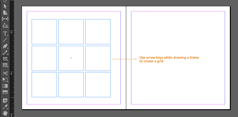 indesign frame grid