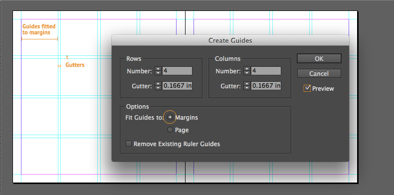 indesign guides fitted to margins