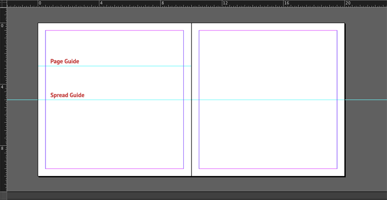 InDesign spread and page guides