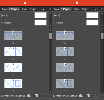 InDesign Pages Panel with all pages selected